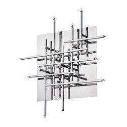 Dainolite - Dainolite 16LT Mondrian Flush Mount - 16 Light Flush Mount Fixture, Polished Chrome, Low Voltage