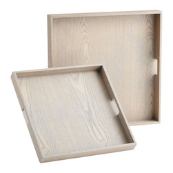 Cyan Design - Cafin Trays, Set of 2 - Caffin Trays-Set of 2  Wood with Bleached Oak Veneer Finish