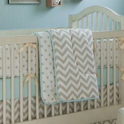 Taupe Zig Zag Crib Comforter - Front of comforter features Taupe Zig Zag, backed with White and Taupe Polka Dot, and edged with Solid Mist trim.