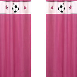 Sweet Jojo Designs - Pink Soccer Window Panels (Set of 2) - The Soccer Pink window curtain panel set (2 panels) will help complete the look of your Sweet Jojo Designs room. These window treatments instantly change the look and feel of any room, adding layers of warmth and style. Each of the 2 panels measures 42in. x 84in.