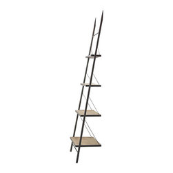 Kathy Kuo Home - Branzi Industrial Loft Metal Wood Ladder Shelving Unit - Display your books, pictures and favorite finds on this industrial ladder shelving unit. Four vintage pine shelves are suspended from the brushed metal frame and supported by silver wire. The modern design with minimalist lines adds an architectural element to any space.