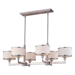 "Maxim - Maxim 12057WTSN Satin Nickel Nexus 6 Light Chandelier from the Nexus - Maxim Lighting 12057 Six Light Chandelier from the Nexus Collection The Nexus Collection is the true standard for contemporary lighting. The flat rectangular tube arm forms to a perfect angle and comes finished in choice of Satin Nickel or Oil Rubbed bronze. The White fabric drum shade is trimmed with metal rings in matching finish for a clean, tailored look.  Dimensions: Width is 21.25"", Height is 11.75"", Length is 39.25"" Overall Height is adjustable to maximum 56"" Canopy: Width is 4/5"", Height is .75"" and Length is 18"" Includes 15  of Wire Requires 6 60 watt Candelabra base bulbs (not included)  Featuring: White Fabric Drum Shade"