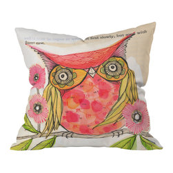 DENY Designs - Cori Dantini Miss Goldie Throw Pillow, 20x20x6 - With her bright eyes and soft spring colors, Miss Goldie looks like a sweet-tempered friend you'd like to have around the house. She loves to perch among the flowers, and would be especially happy in a home that favored floral or folk-arty decor.