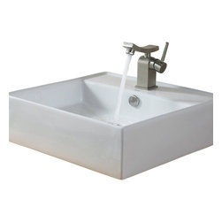 Kraus - Kraus White Square Ceramic Sink and Unicus Basin Faucet Brushed Nickel - *Add a touch of elegance to your bathroom with a ceramic sink combo from Kraus