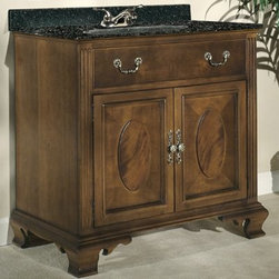Kaco Dorchester Single Bathroom Vanity in Brown Cherry with Optional Size and Co - Featuring typical Hepplewhite detailing, the Kaco Dorchester Single Bathroom Vanity in Brown Cherry with Optional Size and Countertop is simply eye-catching. The oval-patterned door, fluted pilasters and carved base are reminiscent of the furniture of that era. In addition, a solid hardwood construction makes it tough and long-lasting. Moreover, a water-resistant finish keeps this vanity well-protected. A leveling feature on its legs allows you to steady this vanity on uneven floors. Its drawer and two-door cabinet provide ample storage space for your bathroom essentials.Kaco International's partnering with Sherwin-Williams and its high-end furniture finishing capabilities is undoubtedly a winning combination.About Kaco International Inc. Manufacturing and importing high-quality kitchen islands and bathroom vanities, Kaco international Inc. provides premium top quality products. Hailing from North Carolina with over 30 years of service experience, they bring an unmatchable presence to the industry and strive to keep their customers completely satisfied by providing top-notch service and product quality.