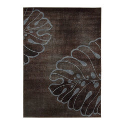 Nourison - Nourison Expressions XP03 Rectangle Rug - This bold and organic print features a larger-than-life leaf design in deep blue and tan on an optical illusion background of moss green with chocolate brown. Exquisite hand-carving imparts heavenly texture and dimension.Product Measures: 2' width x 2.9' length; 2' width x 5.9' length; 2.3' width x 8' length; 3.6' width x 5.6' length; 5.3' width x 7.5' length; 7.9' width x 10.1' lengthManufactured in: Imported    Material: 50% Poly 50% Acrylic