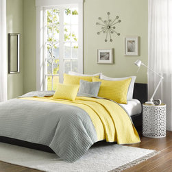 ID-Intelligent Designs - Intelligent Design Aria Coverlet Set - Update your space to a splash of color with the Intelligent Design Aria Coverlet Set. The bright yellow and heather grey work as the perfect combo while pickstitching gives a modern approach to the everyday coverlet.