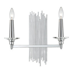 Kathy Kuo Home - Trevor Modern Art Deco Silver 2 Light Sconce - This modern crystal and chrome sconce will add glam and a pop of style to any room in your house. Once it's up, don't be surprised if you start seeing things in a new light.