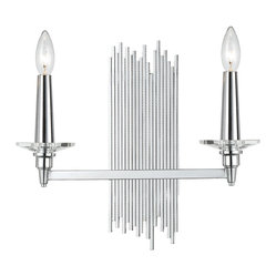Trevor Modern Art Deco Silver 2-Light Sconce