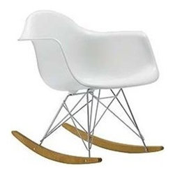 FineMod - Molded White Plastic Arm chair Retro Rocker - The Retro Rocker Arm Chair is a classic mid-century piece made the classic way with ABS, stainless steel legs, and runners in solid walnut wood