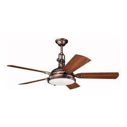 "Kichler - 56"" Hatteras Bay 56"" Ceiling Fan Oil Brushed Bronze - Kichler 56"" Hatteras Bay Model 300018OBB in Oil Brushed Bronze with Reversible Cherry/Walnut Finished Blades."
