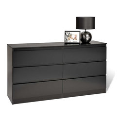 Prepac - Escala Black Six-drawer Dresser - This black wooden six-drawer dresser showcases a very straightforward contemporary style. Made of wood and composite wood,this black-finished dresser features a locking top drawer,metal drawer slides with safety tops,and rounded drawer fronts.