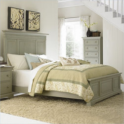 American Drew Ashby Park King Panel Bed - The Ashby Park Collection by American Drew offers simple design elements with a mix of colors and textures to fit the style of many homes. Available in five finishes, this collection of bedroom furniture allows you to easily match the decor of your bedroom. The American Drew Ashby Park Collection creates the perfect bedroom with multiple bed and case piece with semi-transparent finishes and hardware options.