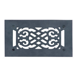 Renovators Supply - Heat Registers Black Aluminum Air Grille w/Logo 5 1/2 x 10 - Grilles: The period style scroll design make these floor registers perfect for any home restoration. Made of cast aluminum, they are rustproof & maintenance-FREE. Treated with a baked-on black powder coating each grille has a luxurious black finish & Renovator��_��__��_s Supply logo. Mounting hardware not included, measures overall: 5 1/2 in. x 10 in.