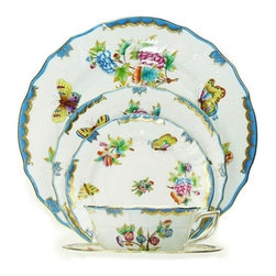 Herend - Herend Queen Victoria Blue 5-Piece Place Setting - Herend Queen Victoria Blue 5-Piece Place Setting