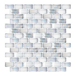 Glass Tile - 3/4 Inch Curved Light Blue Glass Subway Tile - This iridescent white milky subway glass tile comes with a curved surface producing a weave like 3-d effect. It has a pale blue undertone. This is a beautiful tile which produces a very clean, pristine look.