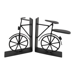 Vintage Bicycle Metal Bookends 6 Inch - This beautiful pair of metal vintage bicycle bookends has a black enamel finish, artificially distressed to make them look old. Measuring 6 inches tall, 5 inches long, and 1 1/2 inches deep, they show excellent detailing, and add class and style to any bookshelf or table. This pair also makes a great present for the holidays or for housewarming gifts.