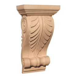 """Inviting Home - Lexington Medium Wood Corbel - White Oak (CB20BMOK/c20b-12) - wood corbel in white oak 12""""H x 3-7/8""""D x 6-1/4""""W Corbels and wood brackets are hand carved by skilled craftsman in deep relief. They are made from premium selected North American hardwoods such as alder beech cherry hard maple red oak and white oak. Corbels and wood brackets are also available in multiple sizes to fit your needs. All are triple sanded and ready to accept stain or paint and come with metal inserts installed on the back for easy installation. Corbels and wood brackets are perfect for additional support to countertops shelves and fireplace mantels as well as trim work and furniture applications."""