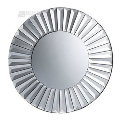 Sterling Industries - Sterling Industries Robeson Transitional Round Mirror X-6591MD - This Sterling Industries round mirror from the Robeson Collection features a faux look that has been created through the use of beveled detailing. The rows of beveled panels add to the look of the piece, resulting in a contemporary starburst pattern to this transitional mirror.