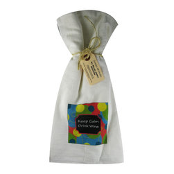 Keep Calm/Dots    Flour Sack Towel  Set of 2 - A fabulous set of 3 flour sack towels. This set features a colorful set with a great saying�.Keep Calm Drink Wine.   These towels are printed in the USA by American Workers!