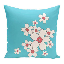 e by design - Floral Turquoise 16-Inch Cotton Decorative Pillow - - Decorate and personalize your home with coastal cotton pillows that embody color and style from e by design  - Fill Material: Synthetic down  - Closure: Concealed Zipper  - Care Instructions: Spot clean recommended  - Made in USA e by design - CPO-NR6-Turquoise-16
