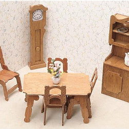 Greenleaf - Greenleaf Dining Room Furniture Kit Set - 1 Inch Scale - 7202 - Shop for Craft Kits from Hayneedle.com! A perfect setting for family meals the Greenleaf Dining Room Furniture Kit Set - 1 Inch Scale makes easy work of a well-designed dining space. A table with four chairs is perfect for everyday gatherings assisted by the convenient storage and serving area of a charming hutch while the grandfather clock in the corner ensures that no one is late for dinner. This furniture set comes unassembled and without stain. All furniture pieces are 1-inch scale. About GreenleafEstablished in 1947 Greenleaf Steel Rule Die Corp is a leading manufacturer of all-wood dollhouse kits furnishings and accessories. Located in Schenevus N.Y. Greenleaf is acknowledged by many in the miniatures industry for its outstanding design and superior quality. Greenleaf wooden dollhouse kits are an ideal project for collectors or families who want to create lasting keepsakes.