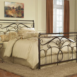 Fashion Bed Group - Lucinda King-size Bed - A true antique reproduction of an old world metal iron bed,the Lucinda bed will fit almost any bedroom decor. The graceful sleigh design on both the headboard and footboard make it a stunning piece.