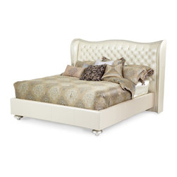 AICO - Hollywood Swank Platform Bed Collection by AICO, Cream Pearl, California King - The starting price is for the queen bed collection.