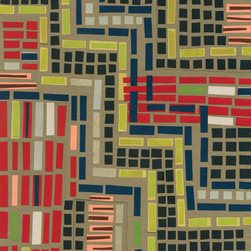 Domestic Construction - Road to Rico Floor Mat, Large - Even if you love a white kitchen, it's nice to have one that's imbued with some extra character and at least a shot or two of color. Why not introduce this bright indoor-outdoor rug under the sink or by a door for added interest? The rubber backing will help add a little spring in your step, and little ones will love to play cars on the dotted lines.
