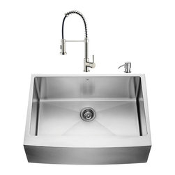 "VIGO Industries - VIGO All in One 30-inch Farmhouse Stainless Steel Kitchen Sink and Faucet Set - Give your kitchen a complete makeover with a VIGO All in One Kitchen Set featuring a 30"" Farmhouse - Apron Front kitchen sink, faucet, soap dispenser, matching bottom grid and sink strainer."