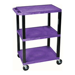 H. Wilson - Tuffy 34 in. Utility Cart w 3 Shelves in Purp - Includes four heavy duty 4 in. casters. Two casters with brake. 12 in. clearance between shelves. Maximum weight capacity: 300 lbs.. Made from high density polyethylene structural foam molded plastic. Made in USA. 24 in. L x 18 in. W x 34 in. H (24.2 lbs.). Warranty. Assembly Instructions