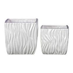 Modern Rippled Square Ceramic Pots - Set of 2 - Gloss White - *Ceramic Pots Set of Two Rippled Gloss White