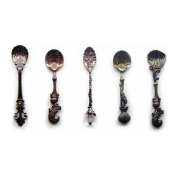 Fantasy - The Mini Spoons, Set of 5 - Furthest from your ordinary spoon, these miniature spoons feature whimsical, vintage inspired designs that add a dash of fantasy and fairytale to your daily routine. Made with the highest quality of artisanship and bronze metal material, each spoon being a unique creation you won't find anywhere else. Their sturdy yet miniature status makes them great for serving sugar and spices and other dry condiments or creatively use as home decor and even book markers. Hand wash. Set of five.