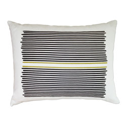 Balanced Design - Hand Printed Linen Pillow - Louis Stripe, Black/Yellow, 14 x 18 - When it comes to softness, style and functionality, this pillow earns its stripes. Loose stripes are hand-printed on 100 percent soft white linen. The pillow features a zipper closure and an ecofriendly insert made from recycled plastic and feathers, and comes in your choice of sizes and colors.