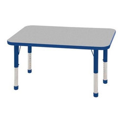 """Ecr4kids - Ecr4Kids Adjustable Activity Table - Rectangular 24"""" X 48"""" Elr-14107-Grd-Tb Red - Table tops feature stain-resistant and easy to clean laminate on both sides. Adjustable legs available in 3 different size ranges: Standard (19""""-30""""), Toddler (15""""-23""""), Chunky (15""""-24""""). Specify edge banding and leg color. Specify leg type."""