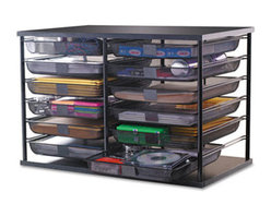 "Rubbermaid - 12-Compartment Organizer With Mesh Drawers, 23 4/5"" X 15 9/10"" X 15 2/5"", Black - This versatile organizer expands your desk or home office storage capability. Keep papers, supplies and more organized with this smart system with removable mesh drawers. Each drawer has a flat surface on the front for labeling. Stackable design with brackets included. Number of Compartments: 12."