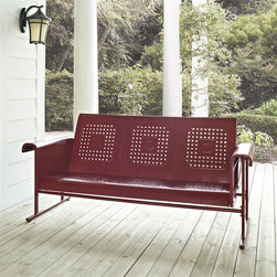 Crosley Furniture - Veranda Sofa Glider in Coral Red - Sturdy Steel Construction. Easy To Assemble. UV Resistant. Smooth glide rocking mechanism. Indoor/Outdoor Construction. . 31 in. W x 72 in. D x 33 in. H (108 lbs.)