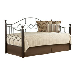 Fashion Bed - Fashion Bed Bianca Daybed with Euro Top Spring in Pewter and Espresso-Without Po - Fashion Bed - Daybeds - B91637 - The Bianca Daybed is a convenient way to create sitting and sleeping space out of one beautiful piece of furniture. The charming style of the Bianca Daybed coordinates well with a variety of styles and decor. The Hammered Pewter metal grills are complemented by four solid-hardwood posts that are topped with sophisticated finials and painted a handsome Espresso. The Bianca Daybed is sold in a standard twin size. Pop-up trundle link spring and mattress are sold separately.