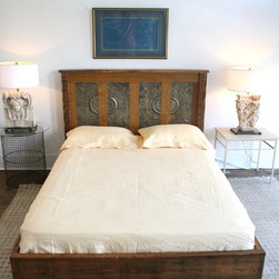 Queen Platform Bed Made from Reclaimed New Orleans Homes and Victorian Ceiling T - Made to order-This handmade queen platform bed is crafted solely from reclaimed antique wood that was once a part of homes destroyed in Hurricane Katrina. These homes were built in the late 1890s to early 1900s and the patina of the wood shows years of aging. In making this bed I wanted to preserve the history and beauty of these old pieces. On the side rails and posts, I've embraced the termite holes, accentuated the cracks, and preserved the beauty of the wood grain.