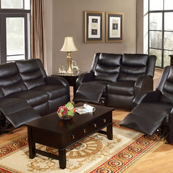 Modern Black Leather Reclining Sofa Loveseat Motion Couch Living Room - Rich and vibrant colors of bonded leather, this exceptionally handsome loveseat and motion sofa set define classic style. Crafted with grace, it features wide seat cushions, rounded arm-rests and high back rest with motion options for relaxation.