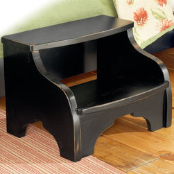 American Woodcrafters - Heirloom Foot Stool - Two 10 in. deep steps. Shaped front base molding. Tenon and mortis construction. Made from select hardwoods and veneers. Black with rub through highlights finish. No assembly required. 22 in. W x 17.5 in. D x 16 in. H (22.3 lbs.)An heirloom is a timeless treasure that passes from generation to generation bringing each family member immeasurable joy through memories. The Heirloom Footstool is a masterful piece of tradition that is finished in a distressed black finish with hints of gold rubbed through. Enjoy a tradition of creating ageless family heirlooms with the Heirloom Footstool.