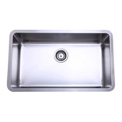 Kingston Brass - Single Bowl Undermount Kitchen Sink - The single-bowl undermount kitchen sink features a long rectangular basin 30-1/8in. in length and 17-7/8in. in width. The basin contains more than enough space for washing kitchen appliances, preparing food and is made of high quality stainless steel for reliance and durability. The sink is also fully protected by a heavy-duty sound deadening pad to minimize noise while washing appliances in the sink.