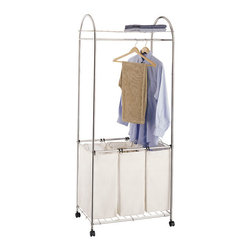 Organize It All - Organize It All Chrome Laundry Center - Make laundry day even easier with this chrome laundry centerThis laundry center features a strong,sturdy metal frameFashionable accessory is also functionalTop shelf can be used for storage