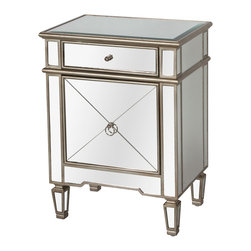 Kathy Kuo Home - Sloane Hollywood Regency Silver Mirror Nightstand - A bit of bedside beauty reflects your modern, glamorous side in this mirrored nightstand. Slim enough for smaller bedrooms but spacious enough to hold all of your necessities, the stunning silver piece is the perfect place for your alarm clock, lamp and favorite magazine.