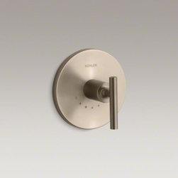KOHLER - KOHLER Purist(R) valve trim with lever handle for thermostatic valve, requires v - Purist faucets and accessories combine simple, architectural forms with sensual design lines and careful detailing. Capturing the style of minimalist design, this Purist valve trim features an ergonomic lever handle for easy control. Pair this trim with a