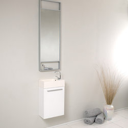Fresca - Fresca Pulito Small White Modern Bathroom Vanity w/ Tall Mirror - Sleek, compact and contemporary, the Fresca Pulito White Modern Bathroom Vanity, model FVN8002WH, adds a lot of style to small powder rooms. The floating design saves valuable floor space.This wall-mounted small bathroom vanity features a horizontal integrated sink with a solid brass, chrome-finished single-hole faucet. The vanity's wide cupboard offers linen storage, and the tall mirror has a small shelf for holding personal items.