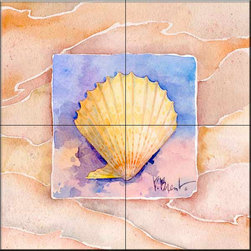 The Tile Mural Store (USA) - Tile Mural - Summer Scallop  - Kitchen Backsplash Ideas - This beautiful artwork by Paul Brent has been digitally reproduced for tiles and depicts a nice shell in the summer series.    Tile murals with shells and decorative shell tiles are timeless and are excellent to add to your kitchen backsplash tile project or your tub and shower surround bathroom tile project. Images of sea shells on tiles add a unique element to your tiling project and are a great kitchen backsplash idea for a coastal home. Use a shell tile mural for a wall tile project in any room in your home where you want to add interest to a plain field of wall tile. Bathrooms always look best with the addition of decorative wall tiles so why not add decorative tiles with images of shells?