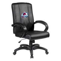 Dreamseat Inc. - Colorado Avalanche NHL Home Office Chair - Check out this Awesome - it's one of the coolest things we've ever seen. Features a zip-in-zip-out logo panel embroidered with 70,000 stitches. Converts from a solid color to custom-logo furniture in seconds - perfect for a shared or multi-purpose room. Root for several teams? Simply swap the panels out when the seasons change. This is a true statement piece that is perfect for your Man Cave or Home Office, and it's a must-have for the person who wants to personalize their work space.