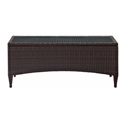 Crosley - Kiawah Outdoor Wicker Glass Top Table - The Kiawah Collection from Crosley will transform your outdoor area in to the perfect intimate conversational setting. You and your guests will enjoyed plush piped cushions, deep seats, and a stylish design that will surely remind you why your outdoor room is just oh so inviting. All-weather wicker is elegantly woven over durable steel, powder-coated frames and married with UV/fade resistant cushions to provide not only comfort but durability. Add pieces as needed to craft the perfect size and shape for your individual space.