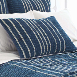 Pine Cone Hill - resist stripe sham (indigo) - This product is made using a traditional resist process. Due to the nature of the dyes, some colors may transfer onto lighter colors which will subside after a few washings and should be washed separately. Please enjoy the wonderful variations in this handmade product.